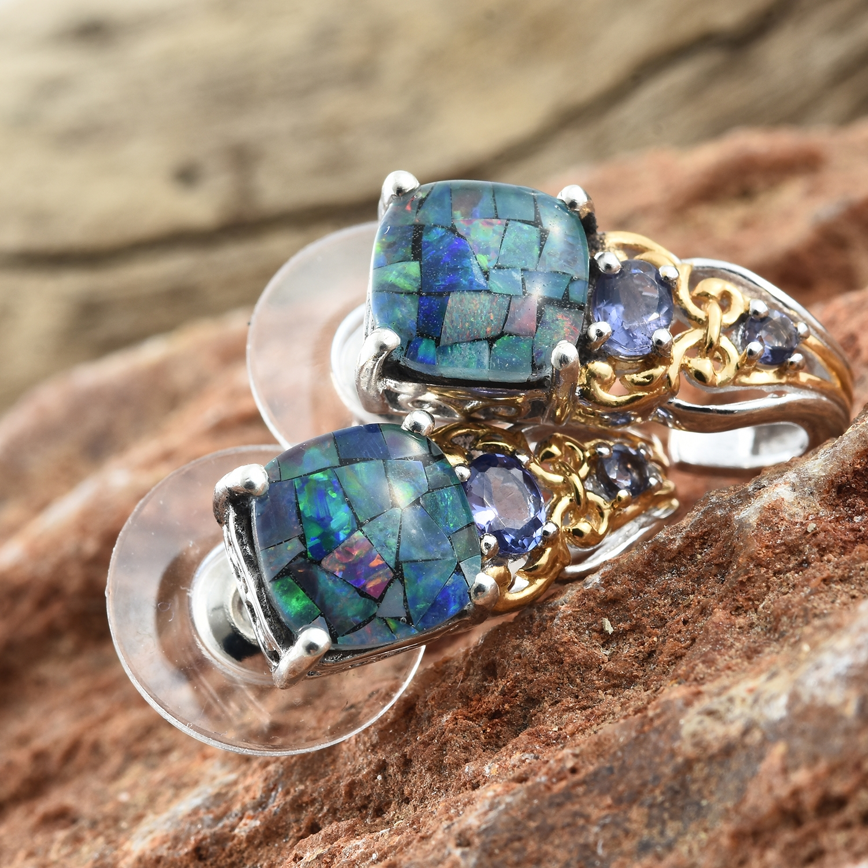 australian mosaic opal iolite 14k yg and