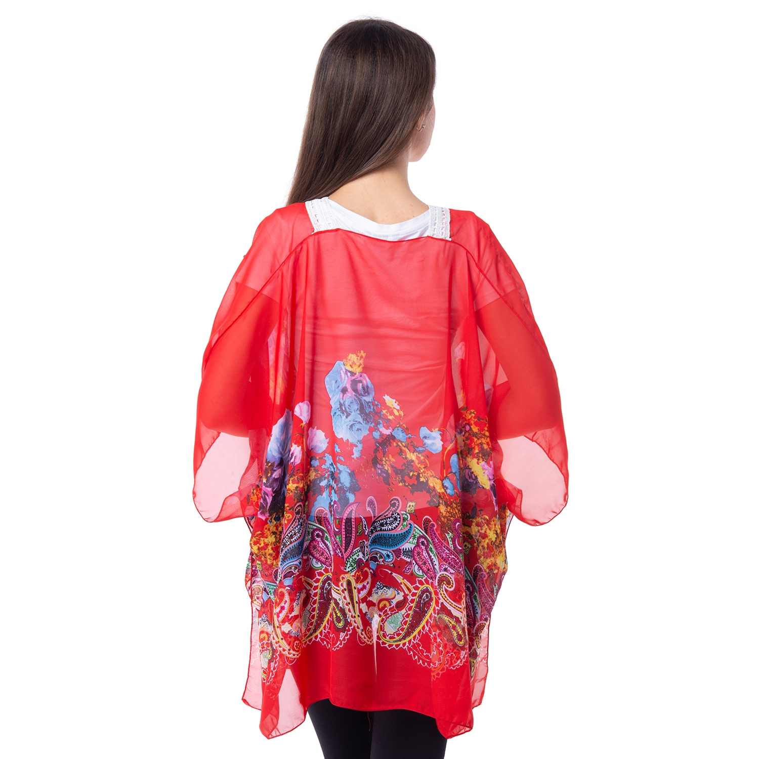 Red 100 Polyester Floral And Paisley Pattern Sheer Poncho With