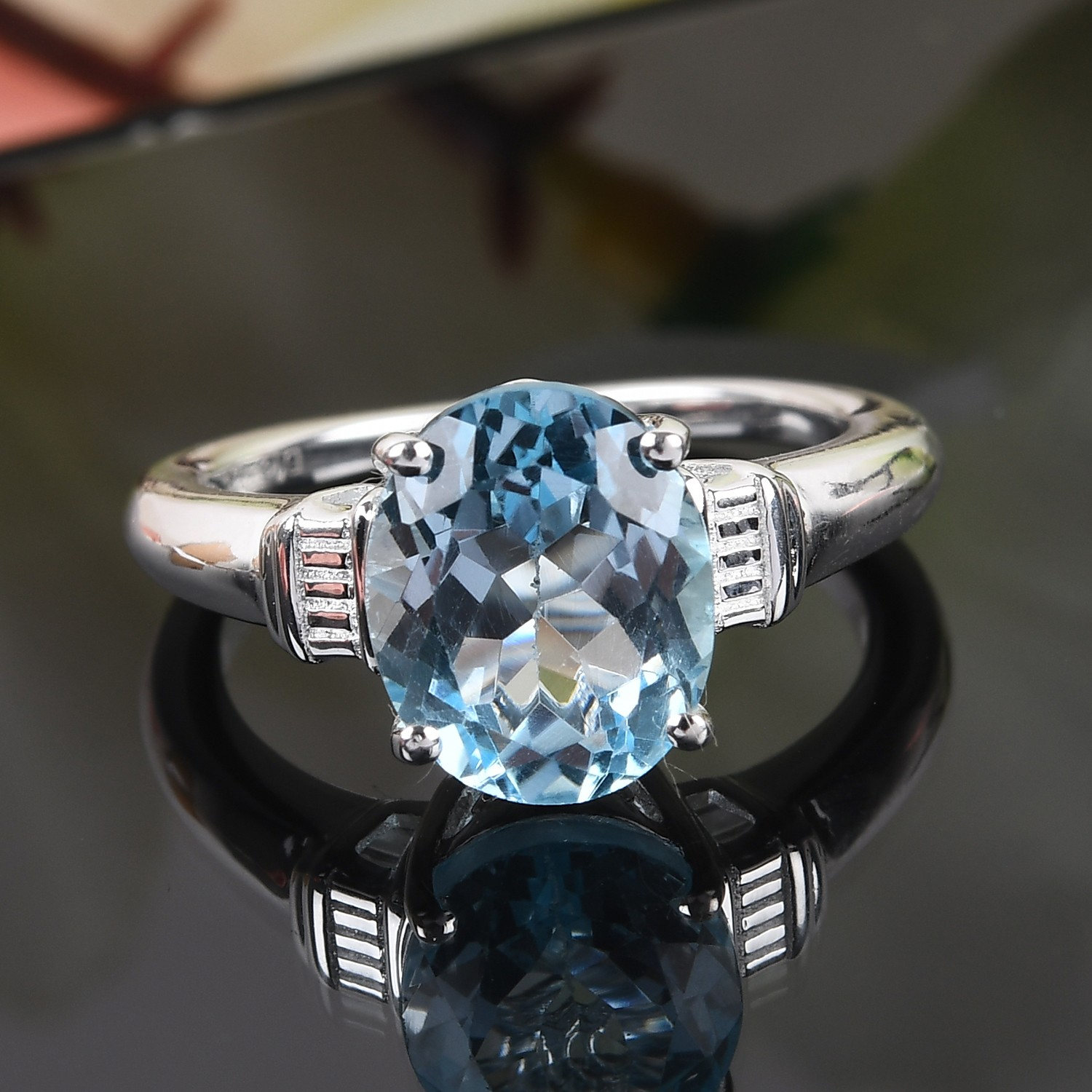 925-Sterling-Silver-Oval-Sky-Blue-Topaz-Solitaire-Promise-Ring-Jewelry thumbnail 2