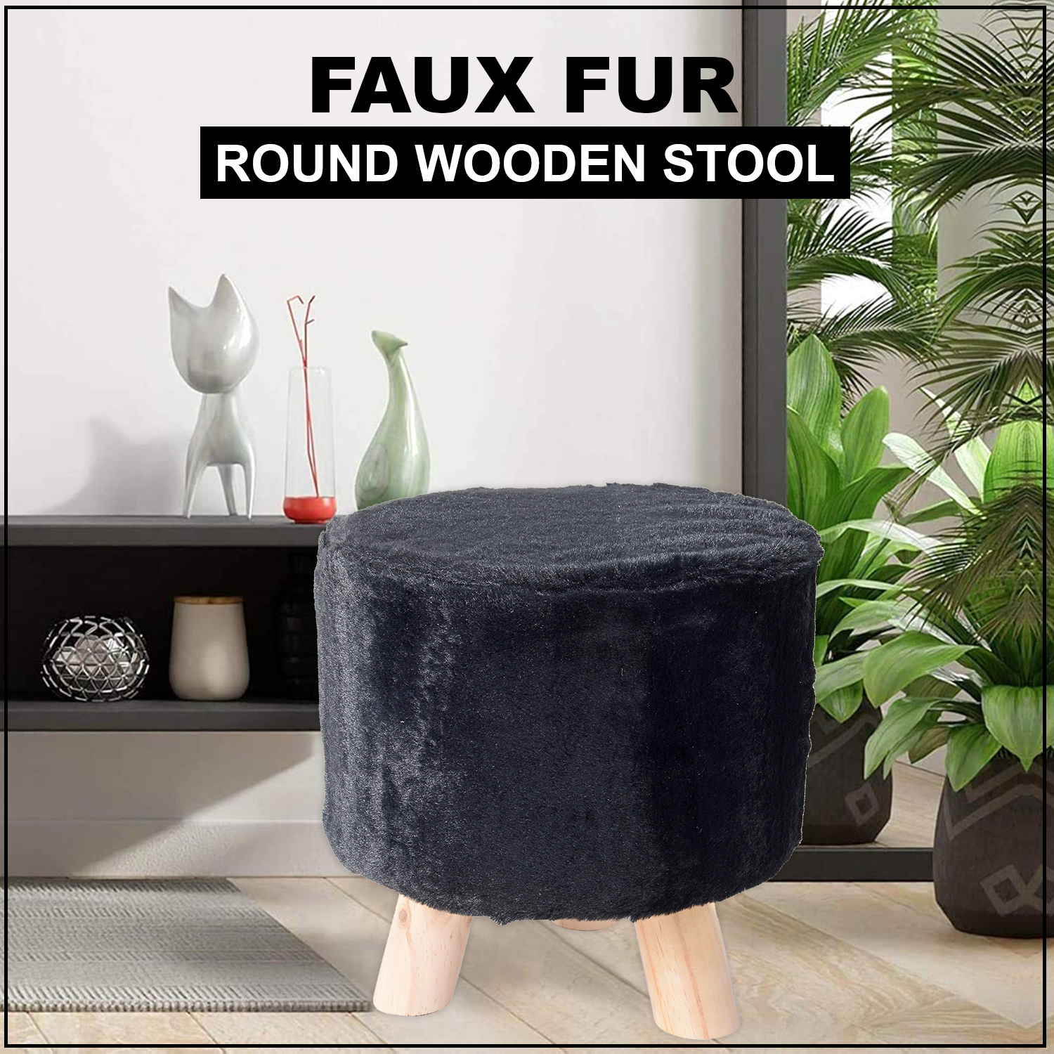 Cool Black Faux Fur Round Wooden Stool 11X11 In Cjindustries Chair Design For Home Cjindustriesco