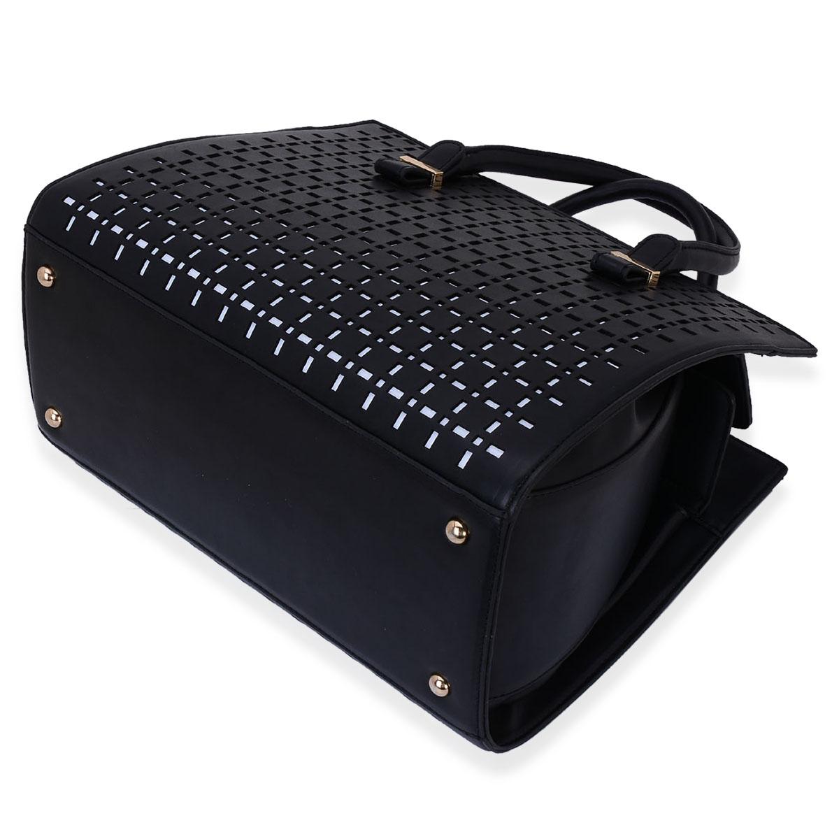 Black Faux Leather Handbag (14x5x10 in)