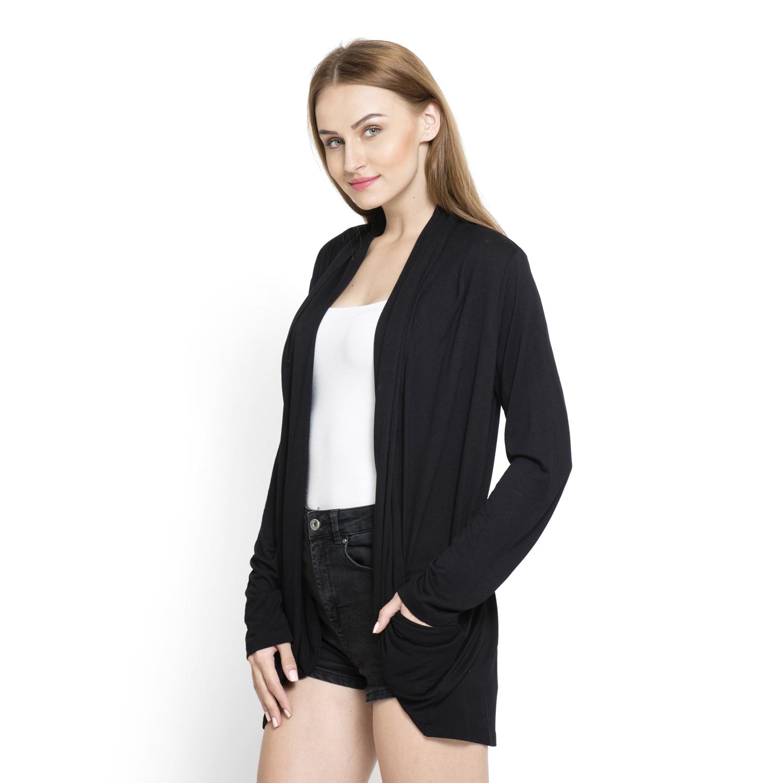 Black 100% Viscose Waterfall Cardigan (Free Size) | cardigans ...