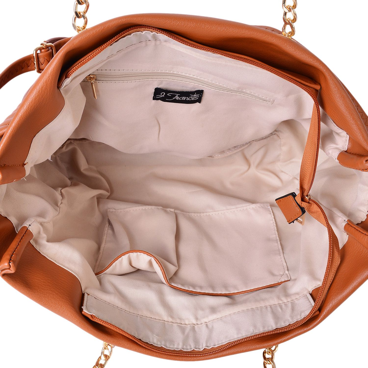 9cae1deaee0d ... Camel Quilted Chevron Pattern Faux Leather Trapezoid Shoulder Bag with  Removable Strap (17x6x11 in)