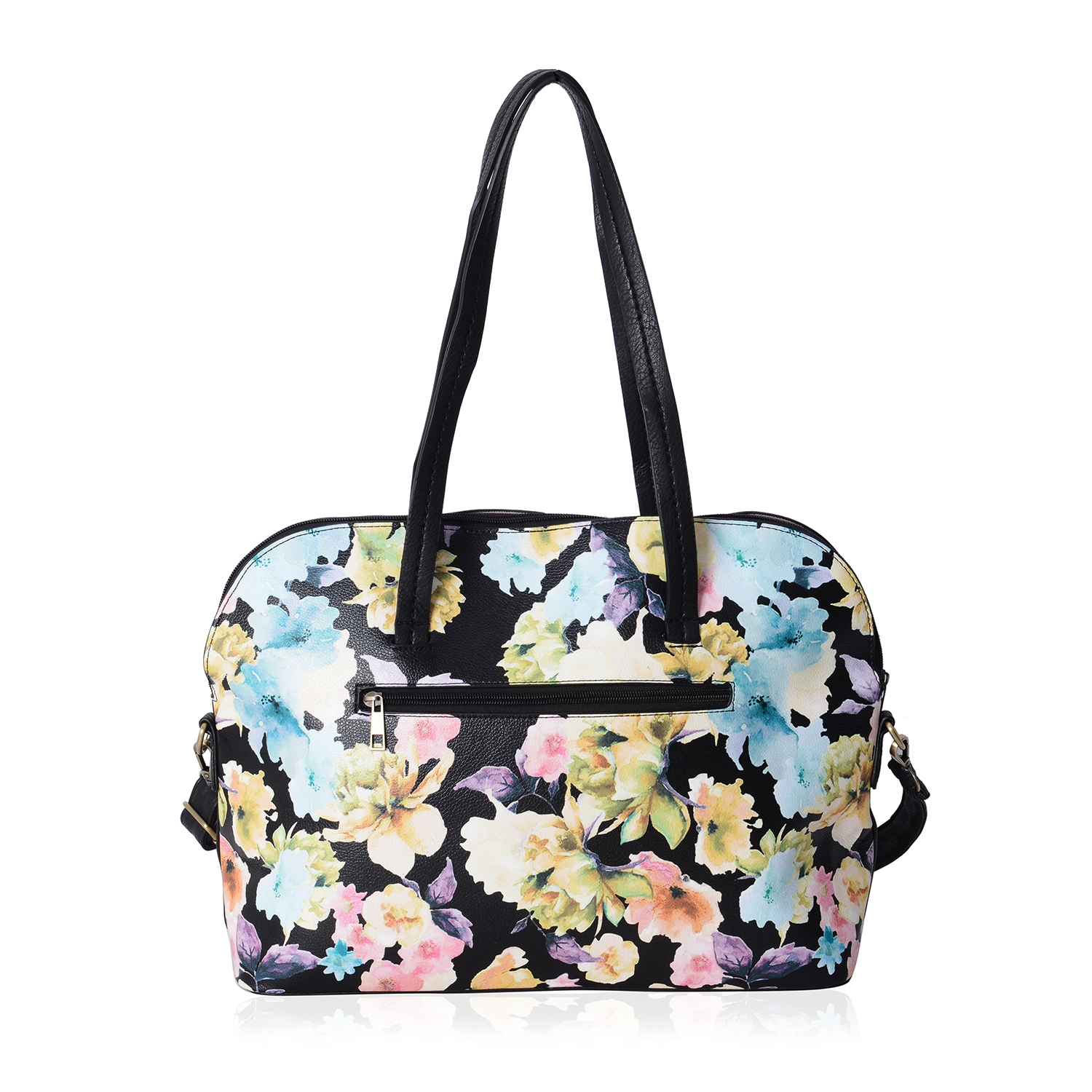 ... Black with Multi Color Flower Pattern Faux Leather Bowling Bag with  Removable Shoulder Strap (17x5x12 ... a622aa7bfe377