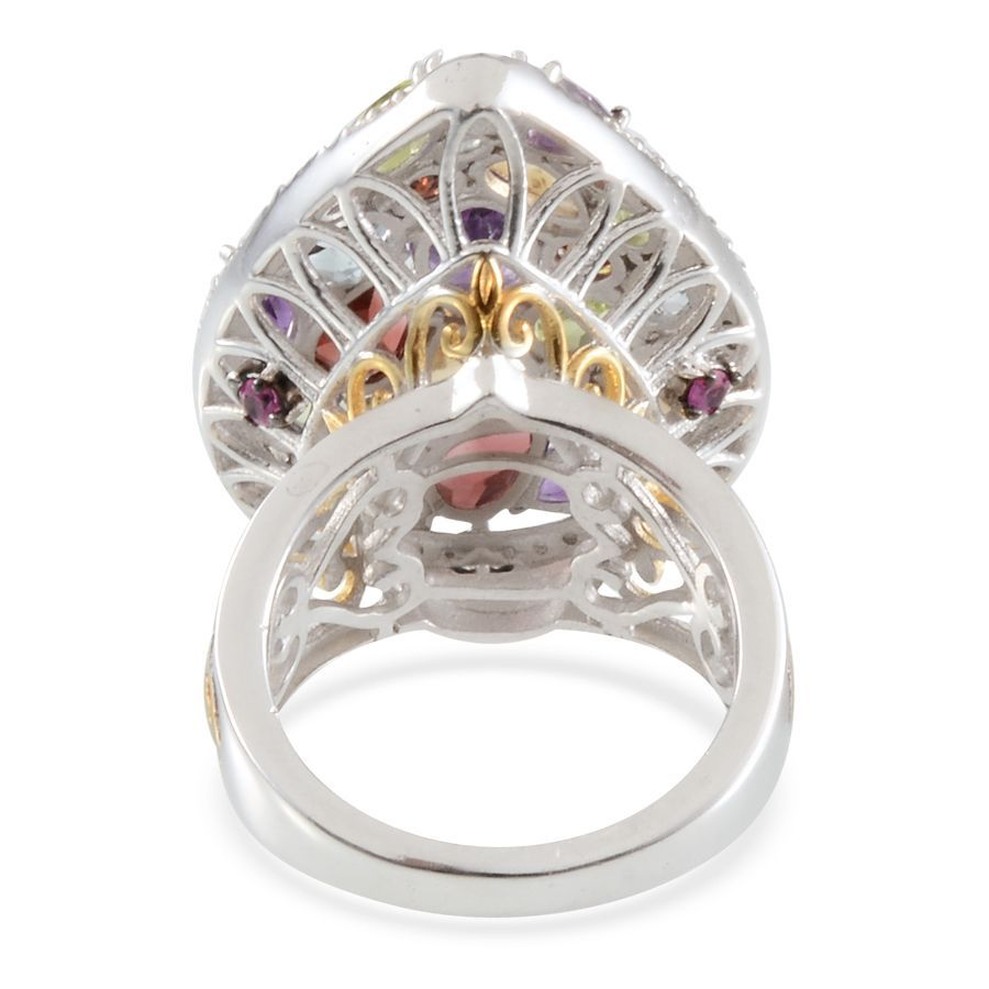 multi gemstone cluster 14k yg and platinum