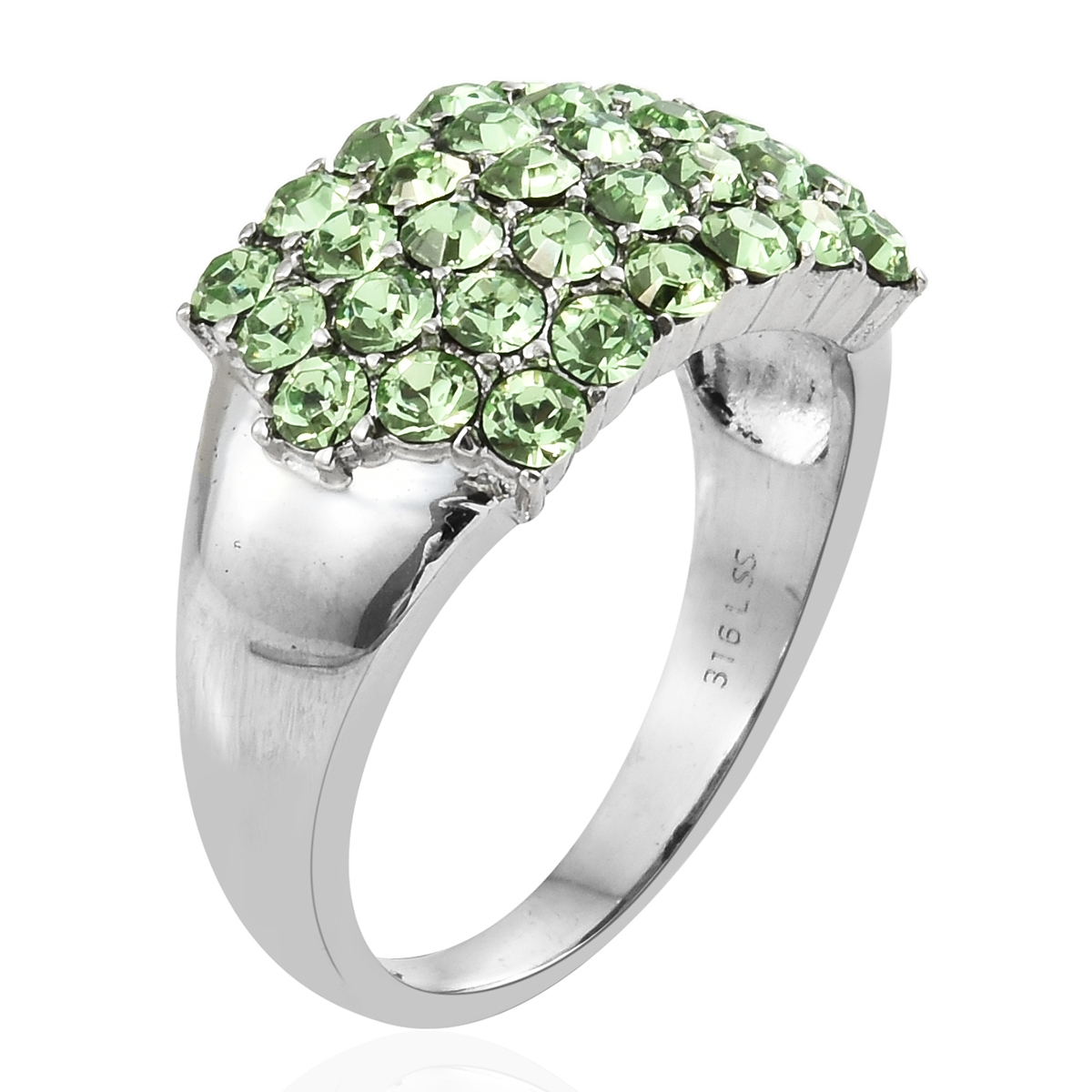 e658df7efcc9 Stainless Steel Ring (Size 6.0) Made with SWAROVSKI Peridot Crystal TGW  2.10 cts.