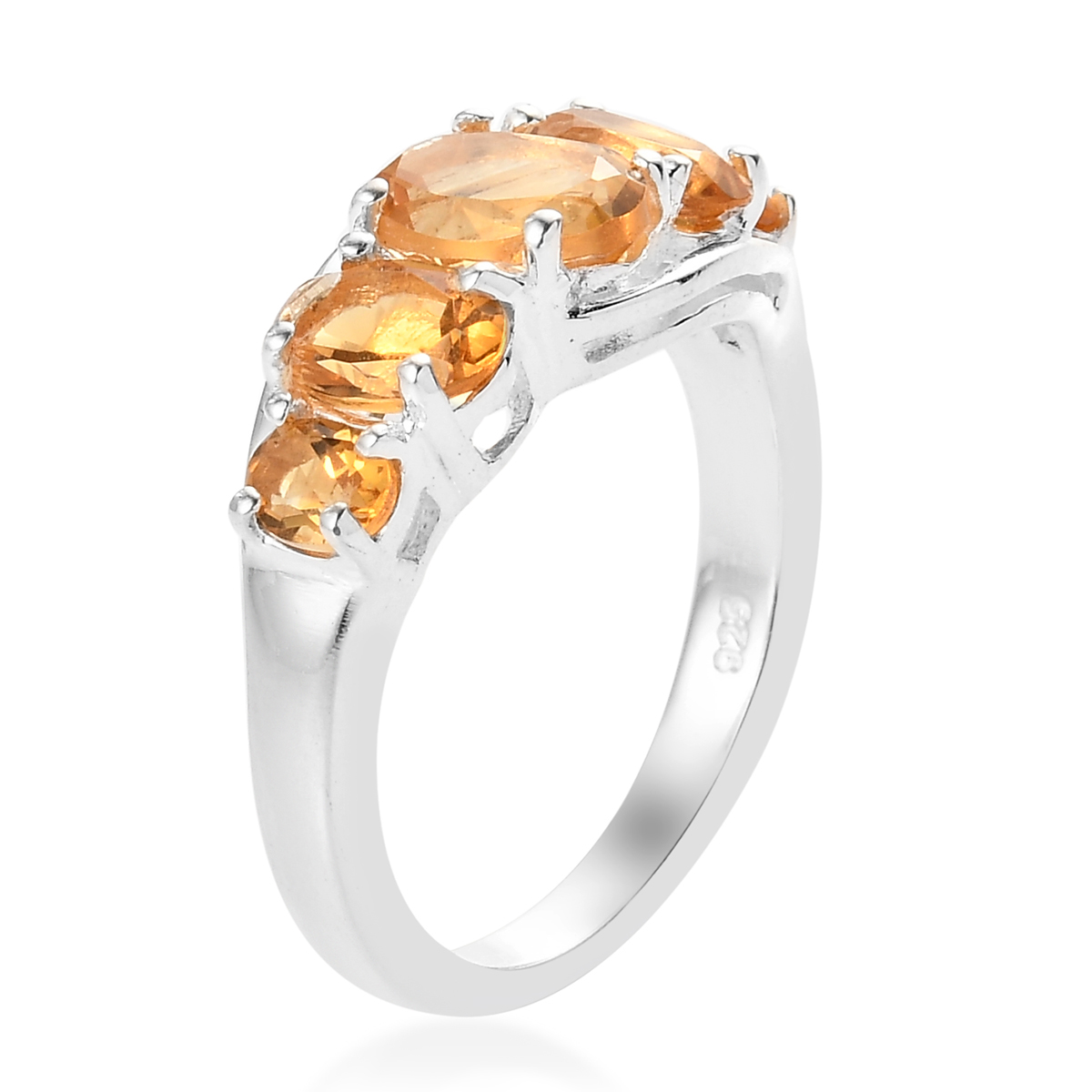 Oval-Citrine-5-Stone-Statement-Promise-Ring-925-Sterling-Silver-Jewelry thumbnail 4
