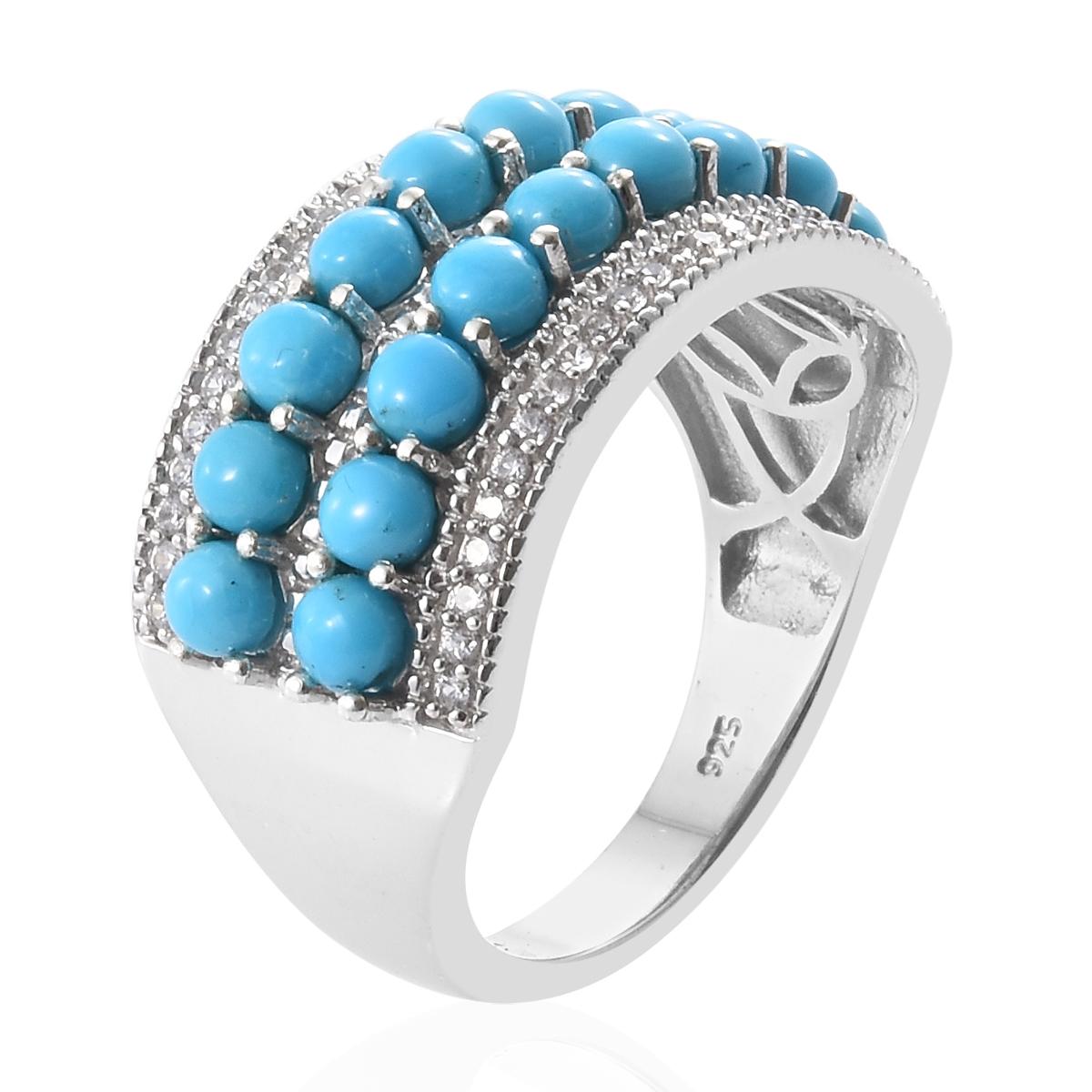 4c577da0f566c6 ... Arizona Sleeping Beauty Turquoise, Cambodian Zircon Platinum Over  Sterling Silver Band Ring (Size 8.0 ...