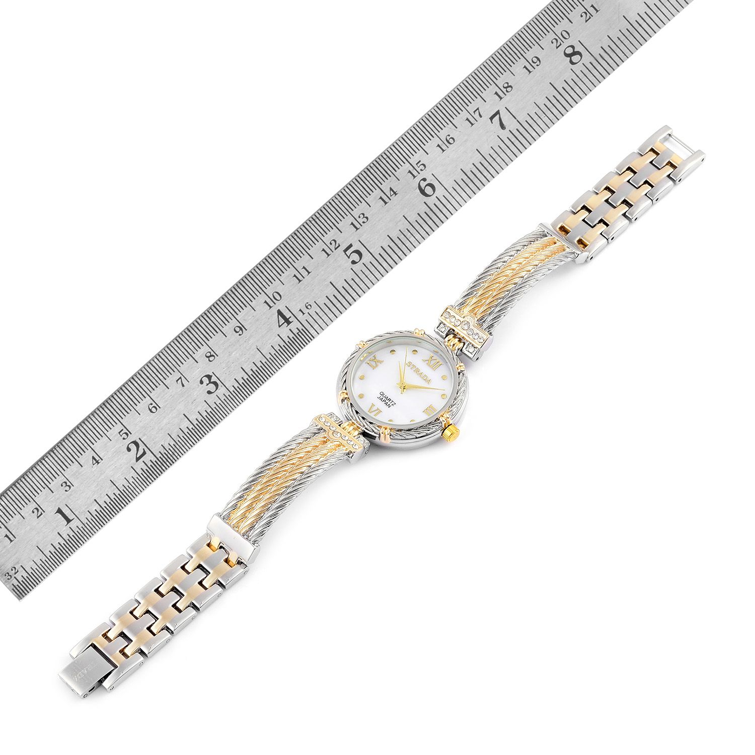 STRADA White Austrian Crystal Japanese Movement Watch in Dualtone with Stainless Steel Back