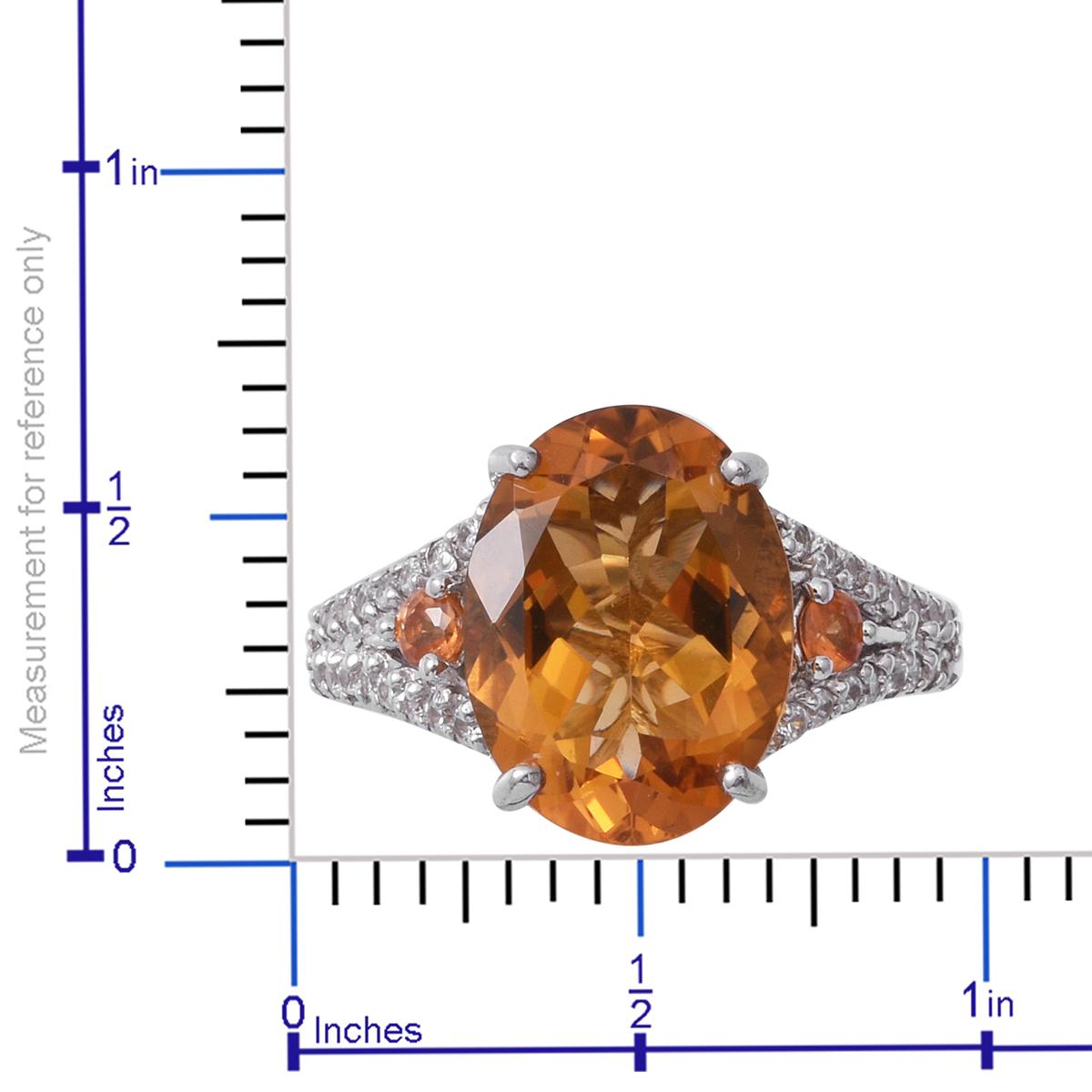 Brazilian Citrine, Multi Gemstone Platinum Over Sterling Silver Ring (Size 7.0) TGW 9.55 cts.