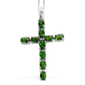 Russian Diopside Platinum Over Sterling Silver Cross Pendant With Chain (20 in) TGW 5.60 Cts.