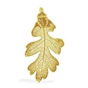 Nature's D'Or Oak Leaf  Dipped in 24K YG Pendant without Chain