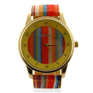 STRADA Japanese Movement Watch with Stainless Steel Back and Purple Striped Canvas Band