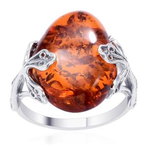 Baltic Amber Sterling Silver Ring (Size 8.0)