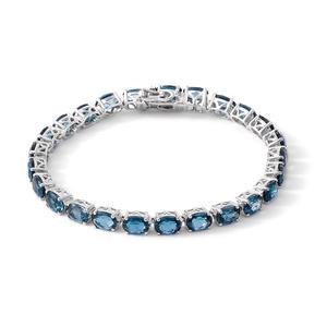 Dan's Deals - London Blue Topaz Sterling Silver Bracelet (7.25 In) TGW 21.750 cts.