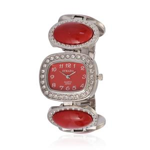 STRADA Austrian Crystal Japanese Movement Watch with Stainless Steel Back Red Chroma Band