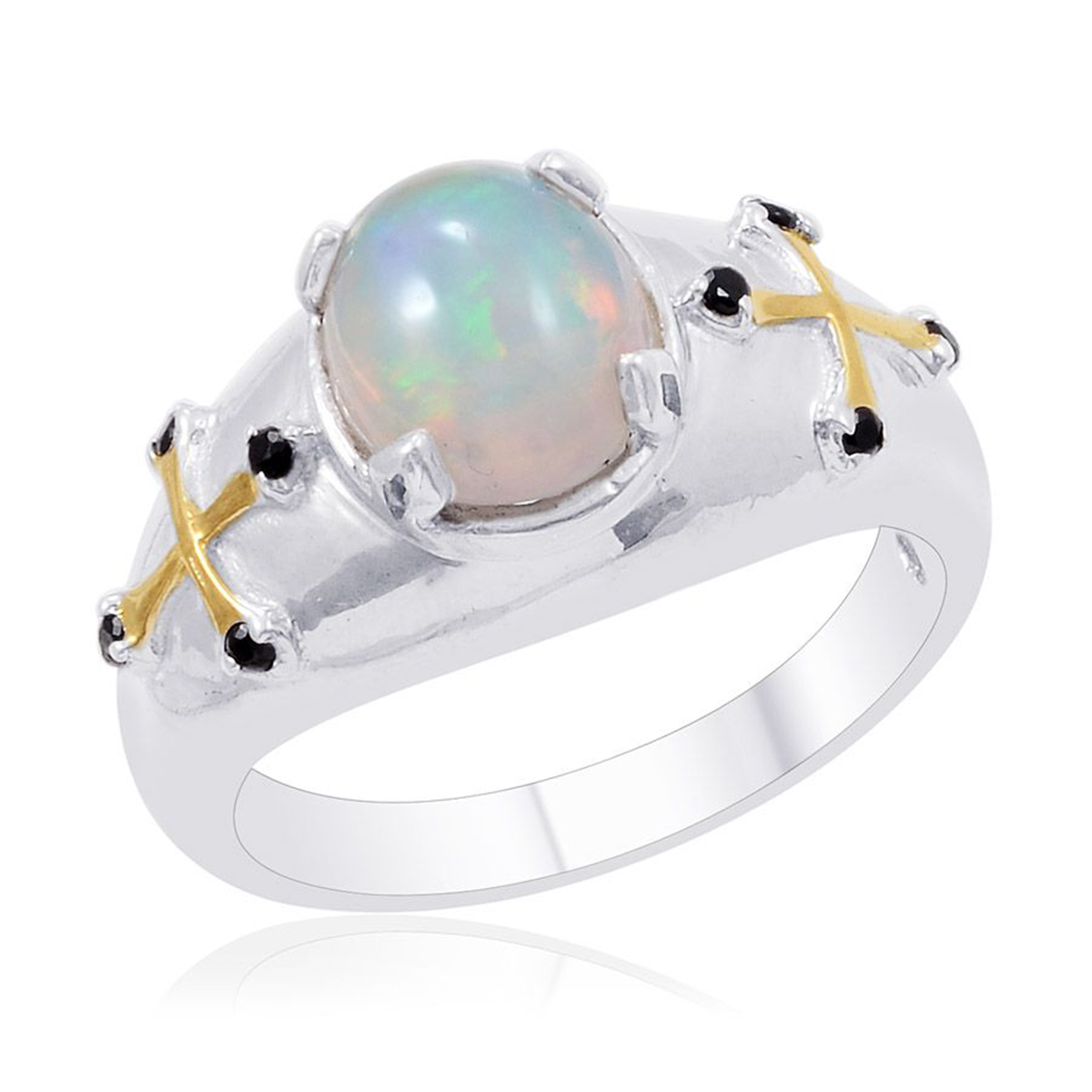 Ethiopian Welo Opal, Thai Black Spinel Platinum Over Sterling Silver Men's Ring (Size 10.0) TGW 2.400 cts.