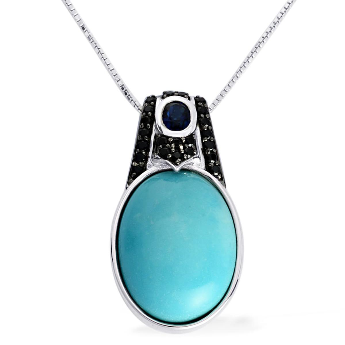 14K WG Arizona Sleeping Beauty Turquoise, Swiss Blue Topaz, Thai Black Spinel Pendant With Chain (16-18 in) TGW 13.10 cts.