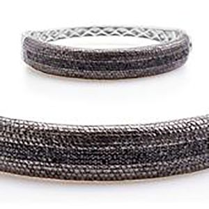 Black Diamond (IR) Platinum Over Sterling Silver Bangle (7.5 in) TDiaWt 1.00 cts, TGW 1.00 cts.