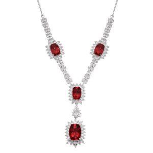 Vermilion Quartz, White Topaz Platinum Over Sterling Silver Necklace (20 in) TGW 65.23 cts.