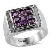 Amethyst (Rnd) Men's Ring in Stainless Steel (Size 13) TGW 2.10 Cts.