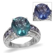 Color Change Fluorite, Catalina Iolite, Diamond Platinum Over Sterling Silver Ring (Size 7) TDiaWt 0.05 cts, TGW 9.95 cts.