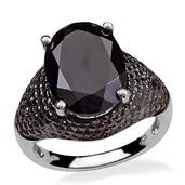 Thai Black Spinel, Diamond Platinum Over Sterling Silver Ring (Size 6.0) TDiaWt 0.06 cts, TGW 10.810 cts.