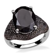 Thai Black Spinel, Diamond Platinum Over Sterling Silver Ring (Size 7.0) TDiaWt 0.06 cts, TGW 10.810 cts.