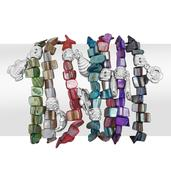 Multi Color Shell Silvertone Set of 7 Bracelets with Charms (Stretchable)
