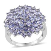 Tanzanite Platinum Over Sterling Silver Cluster Ring (Size 9.0) TGW 6.510 cts.