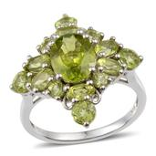 Hebei Peridot Platinum Over Sterling Silver Ring (Size 9.0) TGW 6.400 cts.