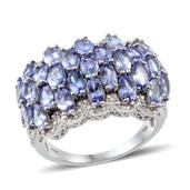 Tanzanite, Diamond Platinum Over Sterling Silver Ring (Size 7.0) TDiaWt 0.02 cts, TGW 6.770 cts.