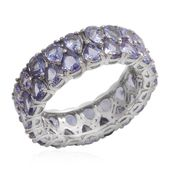 Tanzanite Platinum Over Sterling Silver Ring (Size 7.0) TGW 4.800 cts.