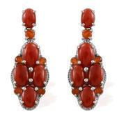 Mediterranean Coral, Jalisco Fire Opal Platinum Over Sterling Silver Earrings TGW 8.900 cts.