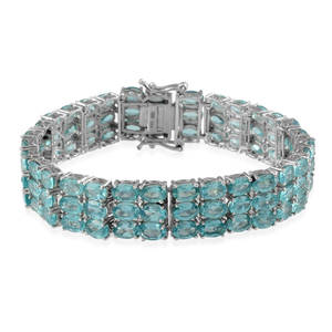 Madagascar Paraiba Apatite Platinum Over Sterling Silver Bracelet (7.50 In) TGW 45.000 cts.