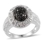 Black Diamond (IR), Diamond Platinum Over Sterling Silver Ring (Size 7.0) TDiaWt 0.50 cts, TGW 0.50 cts.