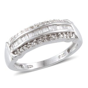 Diamond Platinum Over Sterling Silver Ring (Size 7.0) TDiaWt 0.32 cts, TGW 0.32 cts.