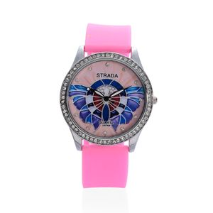 STRADA Austrian Crystal Japanese Movement Watch with Pink Silicone Band and Stainless Steel Back