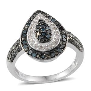 Blue Diamond (IR), Diamond Platinum Over Sterling Silver Ring (Size 8.0) TDiaWt 0.46 cts, TGW 0.460 cts.