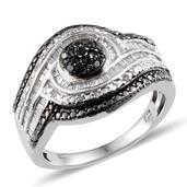 Black Diamond (IR), Diamond Platinum Over Sterling Silver Ring (Size 9.0) TDiaWt 0.48 cts, TGW 0.48 cts.