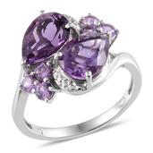Amethyst, Lab Created Purple Sapphire Platinum Over Sterling Silver Ring (Size 8) TGW 4.550 cts.