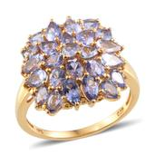 Tanzanite 14K YG Over Sterling Silver Ring (Size 9.0) TGW 5.400 cts.