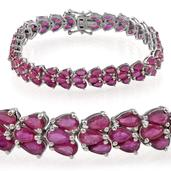 Niassa Ruby Platinum Over Sterling Silver Bracelet (7.25 In) TGW 28.850 cts.