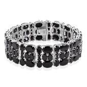 Thai Black Spinel Sterling Silver Bracelet (7.25 In) TGW 85.68 cts.