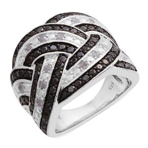 Black Diamond (IR), Diamond Sterling Silver Ring (Size 7.0) TDiaWt 1.03 cts, TGW 1.03 cts.