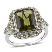 Bohemian Moldavite Platinum Over Sterling Silver Ring (Size 9.0) TGW 5.800 cts.