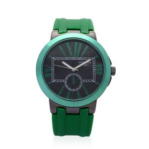 STRADA Japanese Movement Watch With Green Silicone Band and Stainless Steel Back