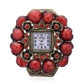 STRADA Red Chroma, Austrian Crystal Japanese Movement Bangle Watch in Goldtone with Stainless Steel Back