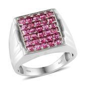 Ouro Fino Rubellite Platinum Over Sterling Silver Men's Ring (Size 14.0) TGW 2.400 cts.
