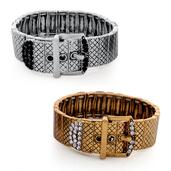 Black and White Austrian Crystal Set of 2 Buckle Bracelets in Silvertone and Goldtone (Stretchable)
